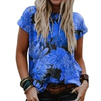 ladies tops women plus size floral 3d print t shirt loose v neck short sleeve casual tee top summer new streetwear
