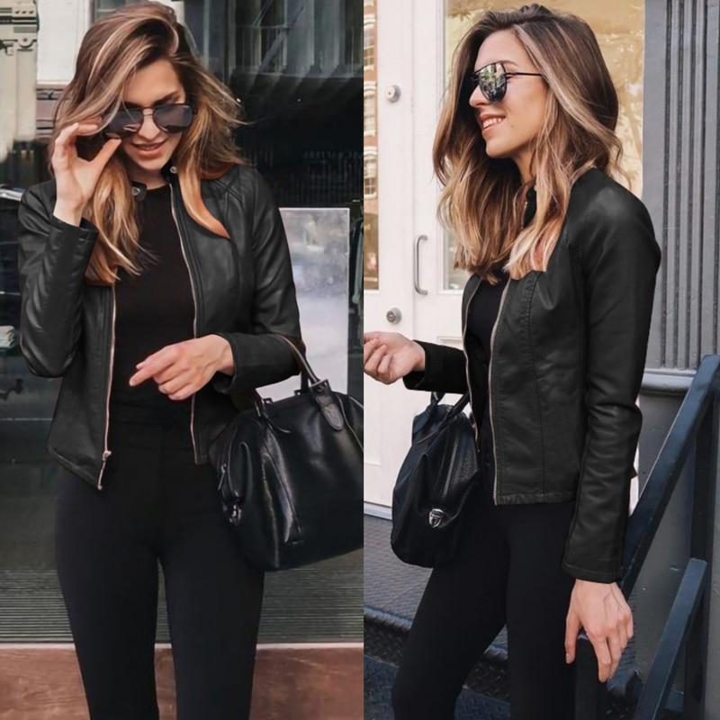 NEDEINS Women Winter Coat Jacket Thicken Long sleeve Outwear PU Leather Jacket warm Coats For Women Autumn Women's Clothing