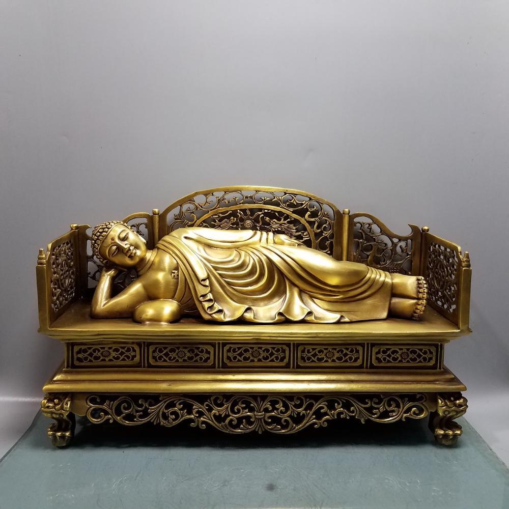 الزفاف الديكور محظوظ الصين Seikos الأحمر البرونزية كبيرة مستلق بوذا شاكياموني تمثال سرير بوذا بوذا بوذا