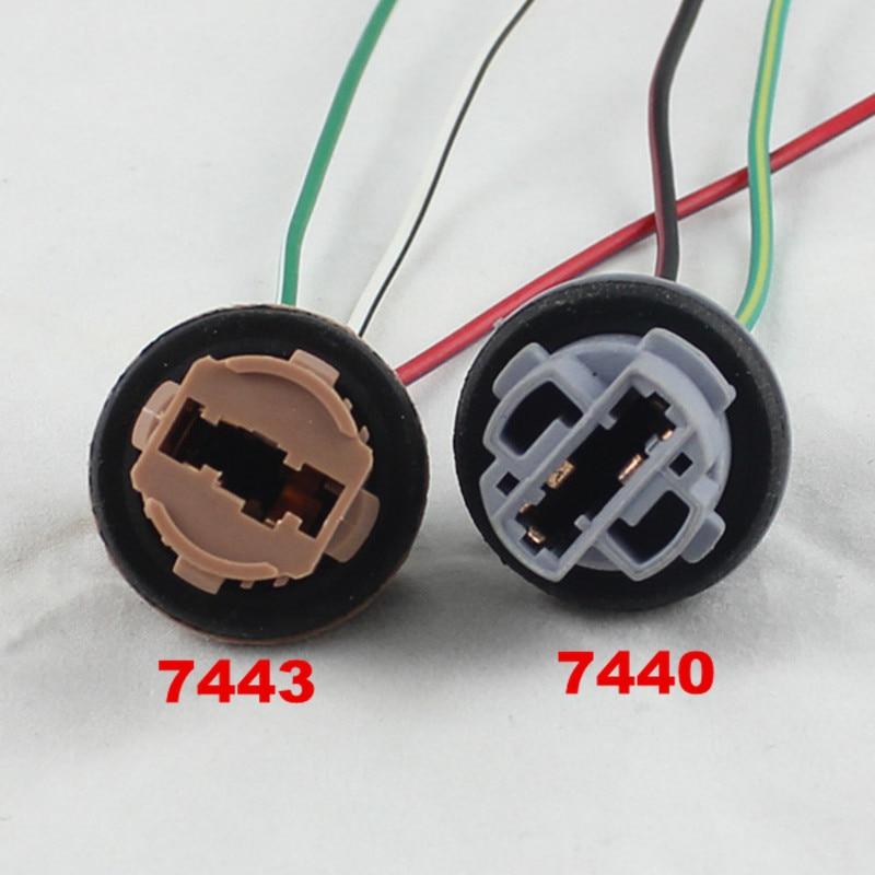 FSYLX 2pcs T20 7440 7443 LED bulb holder LED socket adapter connector LED parking side light lamp Wi
