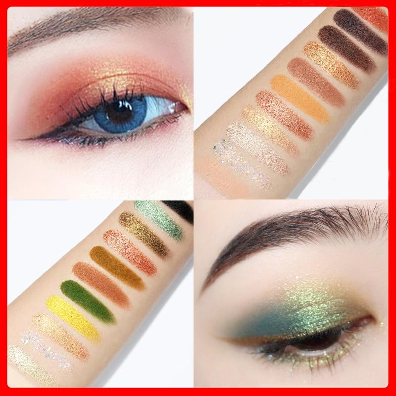 Paleta de sombras de ojos CE053, sombra de ojos holográfica resistente al agua, brillo mate, paleta de maquillaje, 12 colores