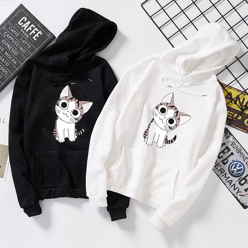 Kawaii Cat Hoodies Men Women Print Autumn Harajuku Hip Hop Sweatshirt Man Fashion Winter Fleece Jumper Drop