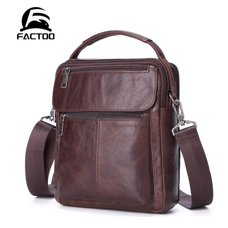 FACTOO Men's Genuine Leather Business Shoulder Messenger Bag Multi-Function Casual Fashion   Large-Capacity Zipper Bag Work Bag