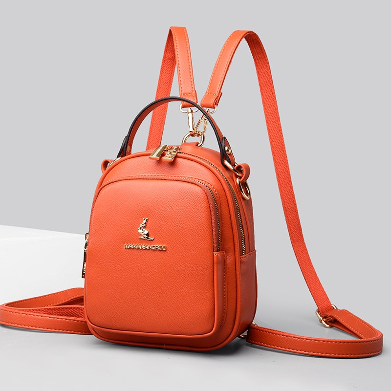 Mini Pu Leather Backpacks for Girl Multifunction Travel Backpack Women Designer Brand Backbag Female Casual Solid Color Backpack