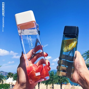 New Water Bottles 500 ML Square Water Cup Heat Resistance Transparent Sports Simple and Stylish Bottle Letter Print Clear