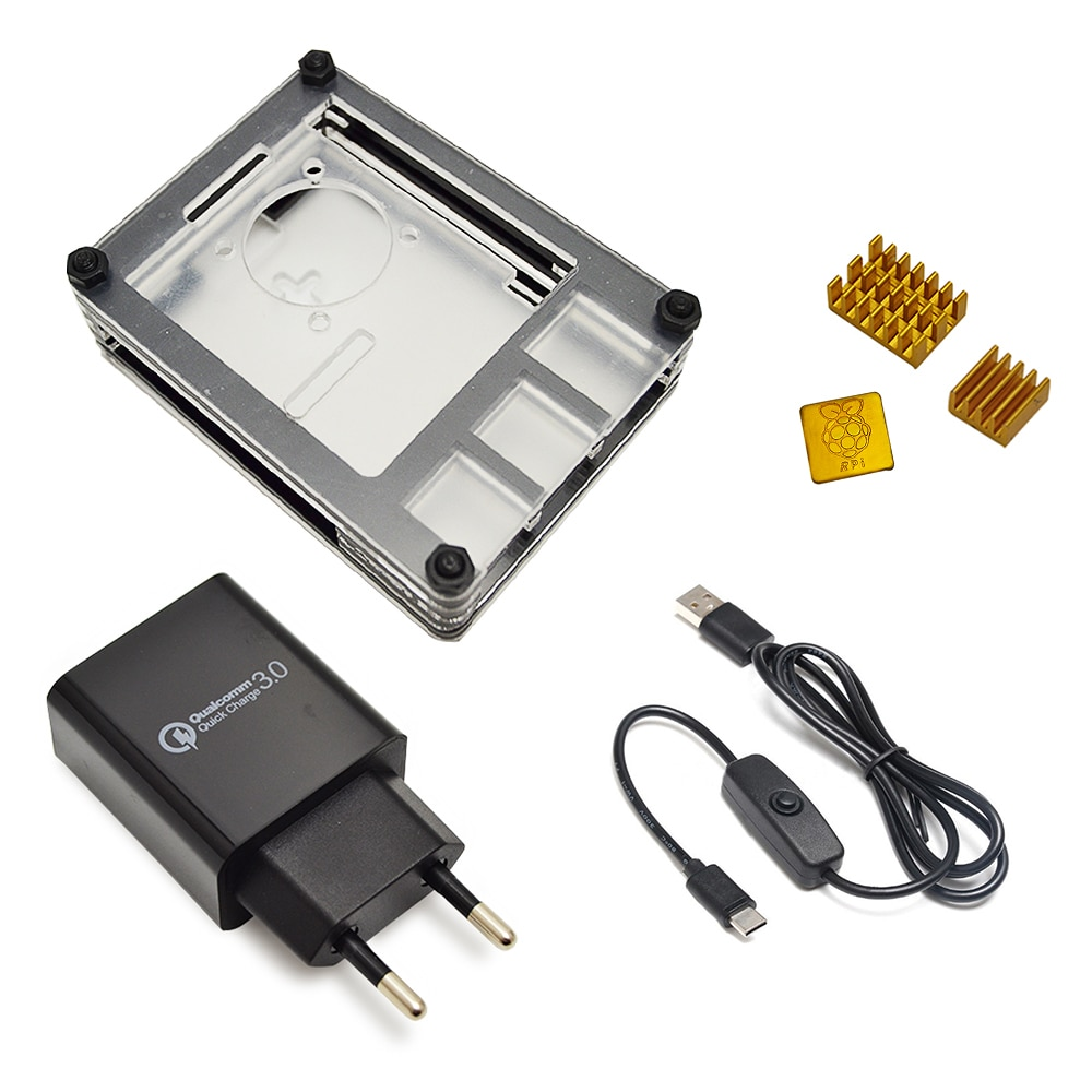 Nueva funda de 9 capas diseñada para Raspberry Pi 4 Modelo B con disipador de calor y interfaz de línea eléctrica tipo c adaptador de cargador UE