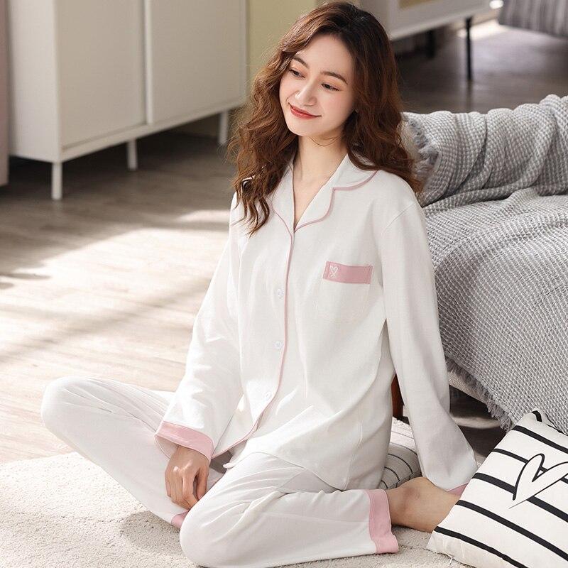 Pajamas for Women 100% Cotton Set White Pijama PJ Long Sleeves Nightwear Pure Cotton Sleepwear Women