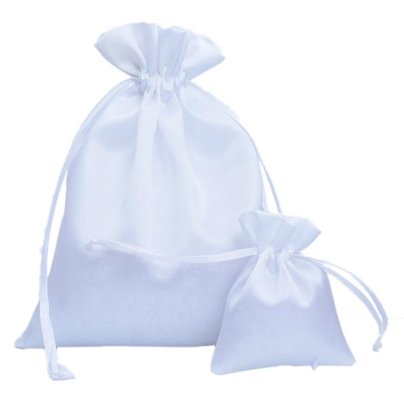 7x9 10x12 16x21cm bolsas de regalos de satén blanco bolsas de joyería con cordón bolsas de boda favores nupciales ducha bolsa de dulces