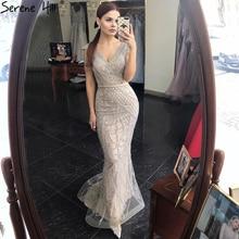 Sereine colline gris nu sirène Elagant luxe robe de soirée 2021 perles dos nu Sexy femmes formelle robe de soirée CLA70799