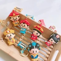 chinese style keychains leather doll pendants creative key rings palace protagonist pendant key holder craft ornaments 2020
