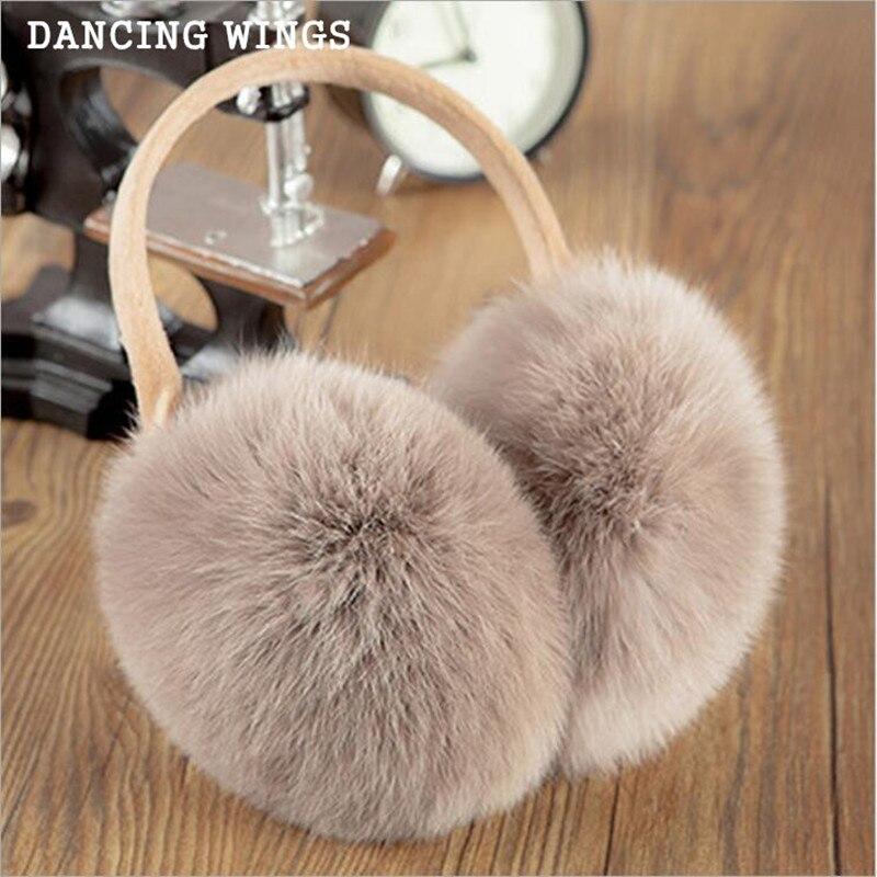 Russian Winter 100% Natural Rex Rabbit Fur Earmuff Men Women Warm Fashion Earflap Plush Fluffy Ear Warm Muffs