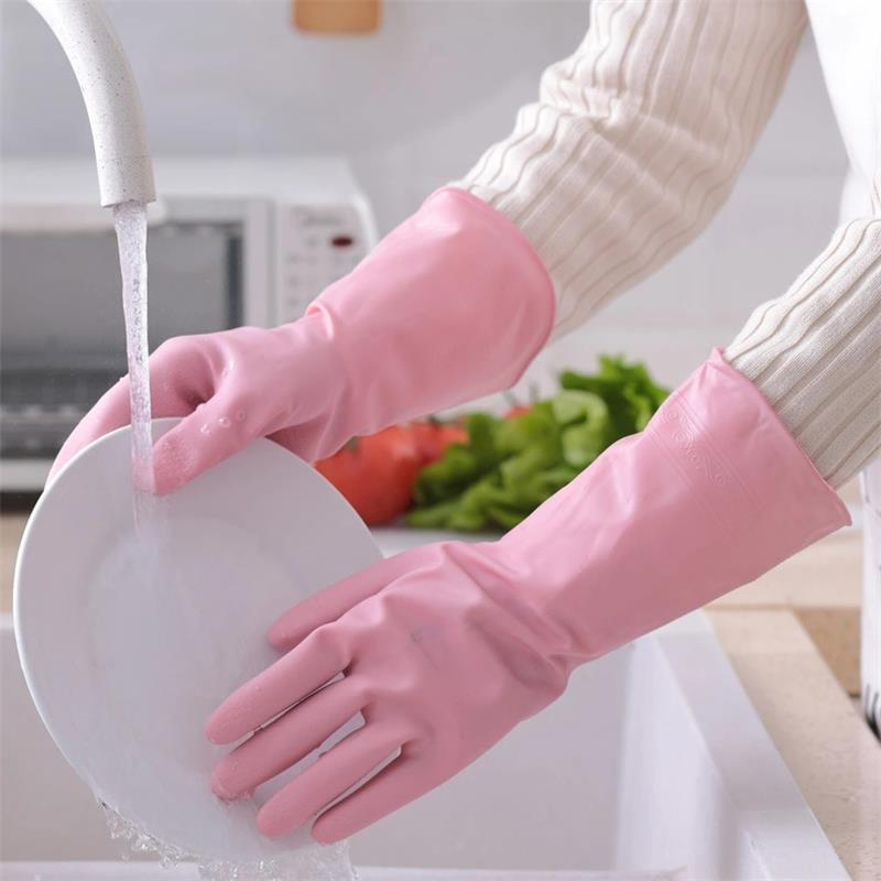 1Pair Cleaning Gloves Kitchen Waterproof Dishwashing Glove Durable Rubber Dish Washing for Household Chores Scrubber