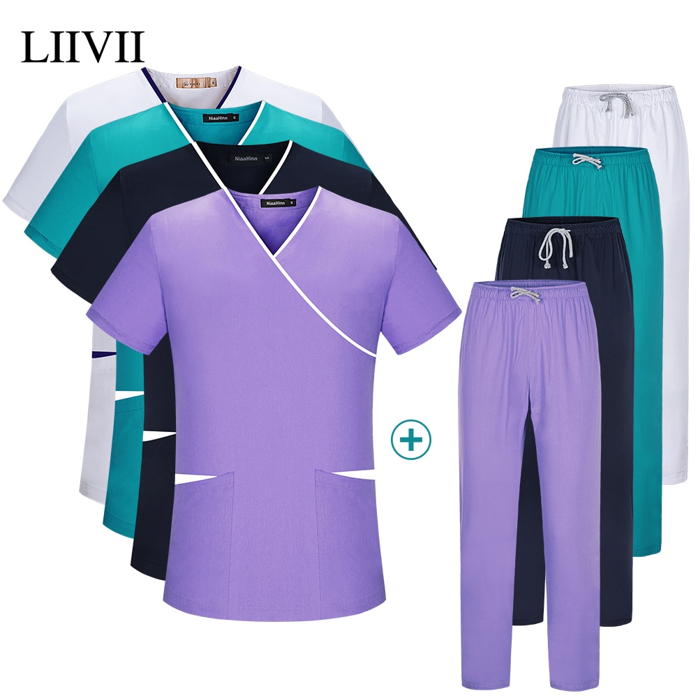 Pet grooming Short-sleeved working Uniforms Suits tooth beauty clothing Sets Beauty Salon Workwear lab work Overalls Clothes new unisex siamese overalls auto repair work clothes sleeveless protective coverall dancing strap jumpsuits working uniforms 2019