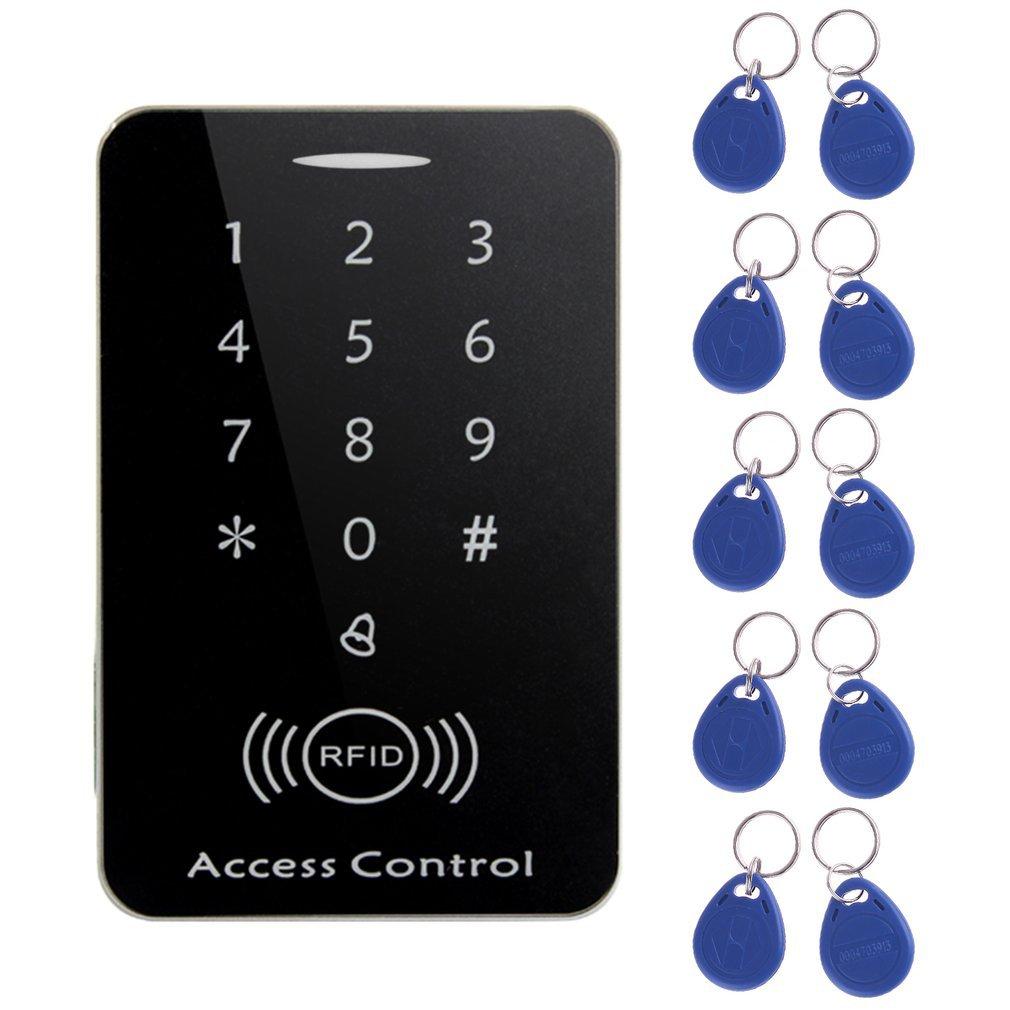 Lectora de tarjetas de control de acceso independiente LESHP RFID con teclado digital + 10 teclas TK4100 para sistema seguro de casa/apartamento/fábrica