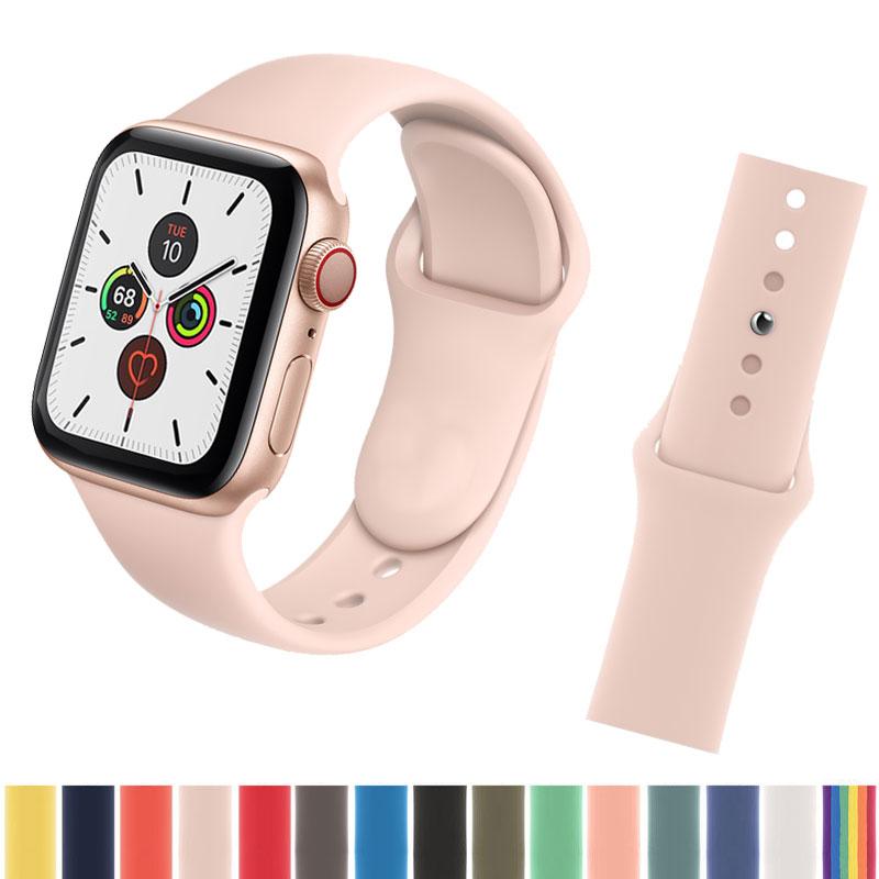 AliExpress - Bracelet For Apple watch 40mm 38mm 42mm 42 mm Series SE 5 4 3 Smartwatch Silicone Sport Belt Watchband correa iwatch 6 band 44mm