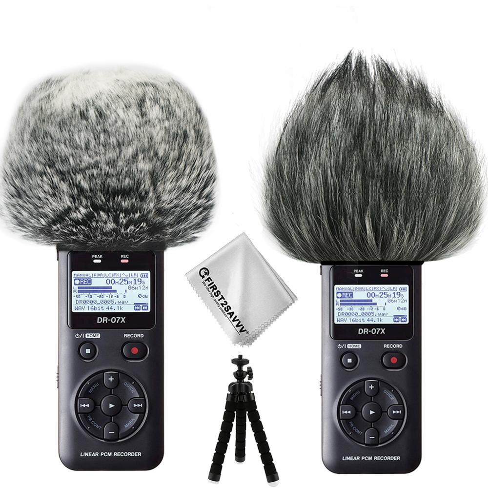 Grabadoras digitales portátiles al aire libre micrófono Furry Mic Windscreen Wind Muff forTascam DR07X DR07MKII DR07 + mini trípode