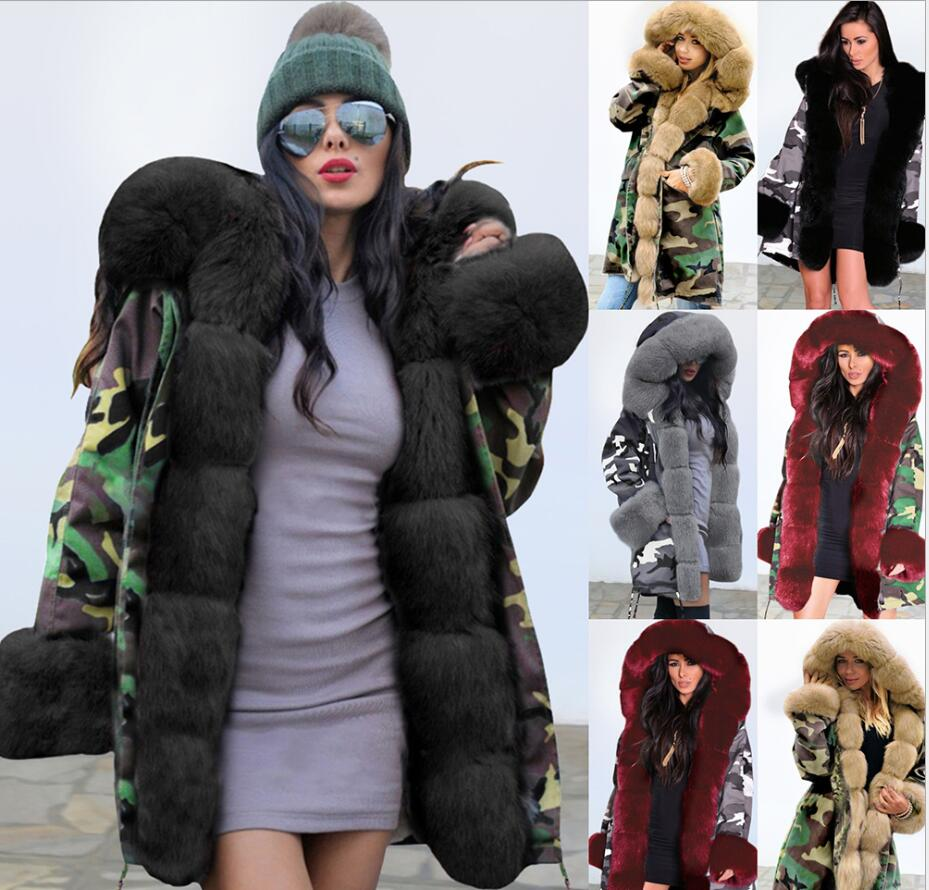 Камуфляжная теплая длинная куртка с капюшоном, Женская Осенняя куртка 2021, однотонная зимняя теплая куртка с плюшевым воротником