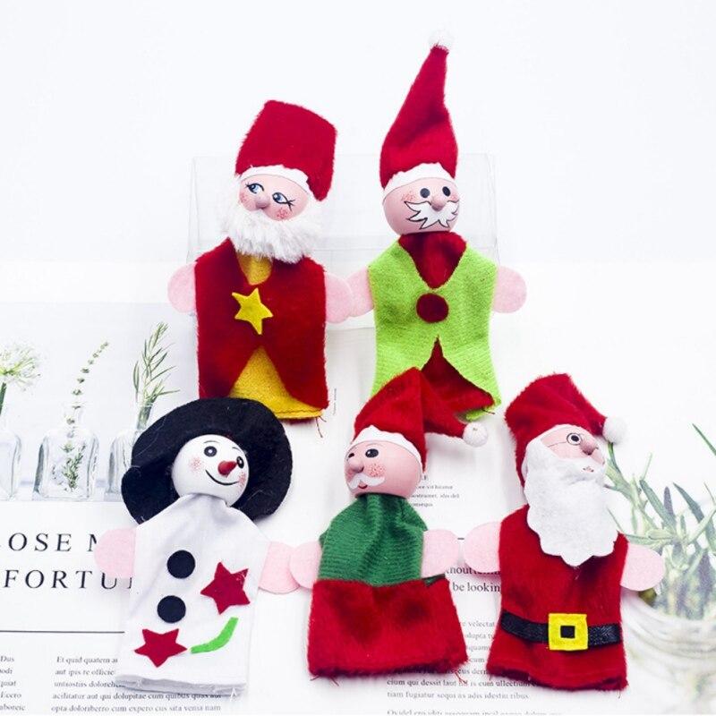 Tela De Navidad muñeca De la decoración lindo Santa Claus dedo Set...