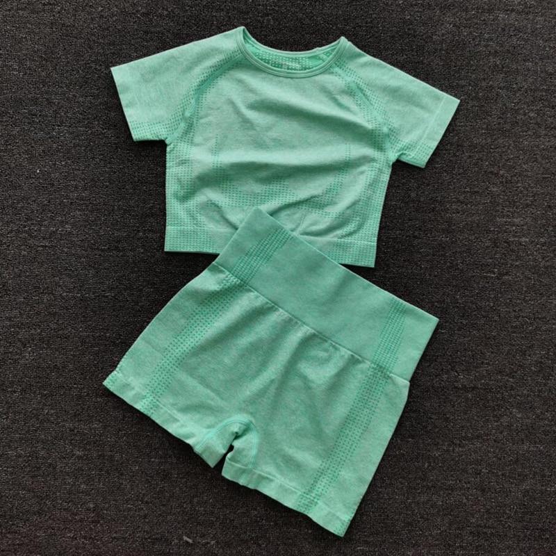 9 colors Women Summer Seamless yoga set Fitness Sports Suits GYM Clothing Yoga T-Shirts High Waist  Shorts Workout Pants Shirts