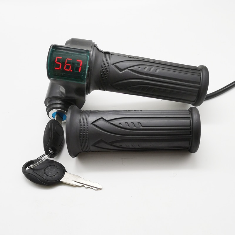 Indicador de voltaje de batería de 12-99V, acelerador de giro Digital Ebike con interruptor de llave para triciclo moto eléctrica, bicicleta MTB, pieza ATV