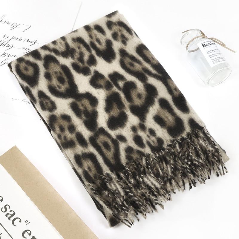 Fashion Winter Scarf Women Pashmina Cashmere Feel Scarfs for Ladies Tassel Leopard Print Wool Warm