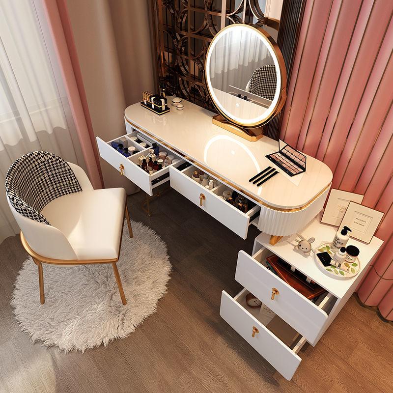 ماكياج الغرور ضوء الفاخرة منضدة الزينة غرفة نوم الحديثة الحد الأدنى قابل للسحب خزانة متعددة الوظائف المتكاملة