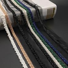 Multi-color 5 Yards Handmade Beaded Lace Trim Herringbone Pattern Lace Ribbon For Costume Dress Skirt Garment Sewing Supplies