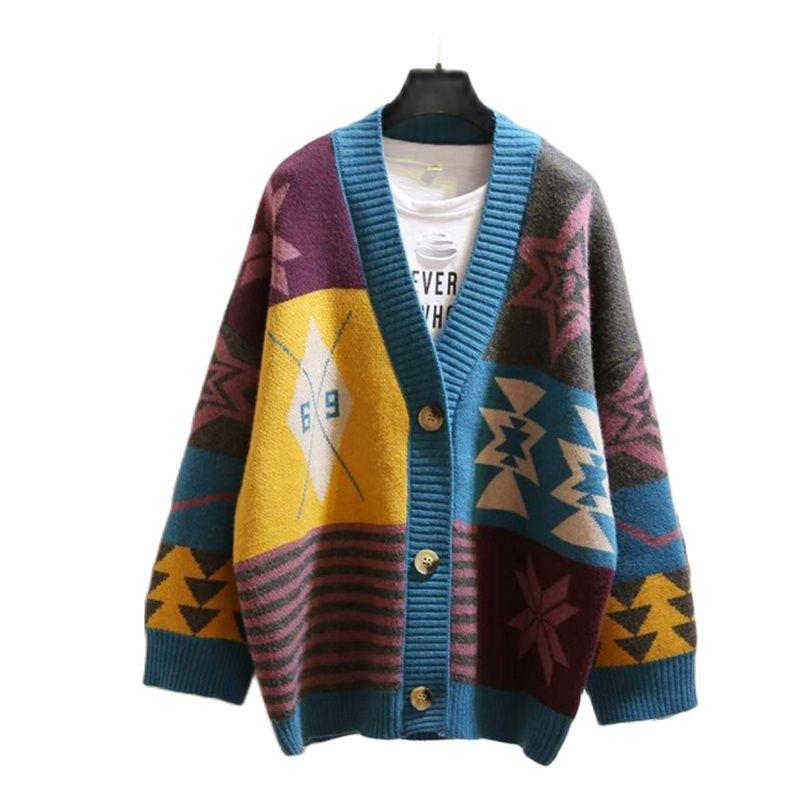 Пальто 2021, новый стиль, свободный женский свитер, весенне-осенний вялый свободный свитер Джокера, свободный женский свитер, кардиган