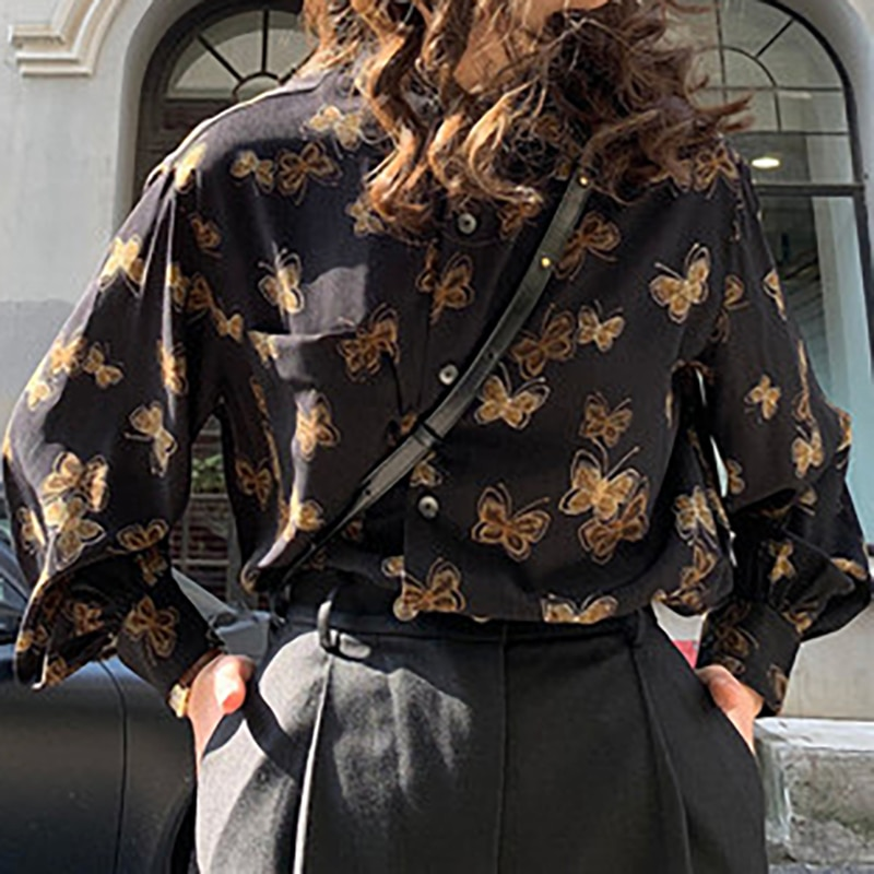 Deeptown Vintage Button Up Shirt Kawaii 2021 Fashion Women Shirt Long Sleeve Animal Print Elegant Losse Casual Blouse Women
