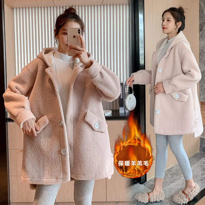 Women's Winter Coat Cashmere Warm Fleece Maternity Overcoat Pregnant Woman Long Loose Wool Coat with Pocket Women Outwear