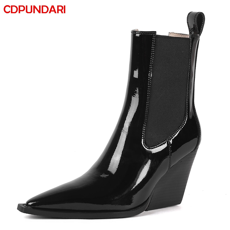 Black White Genuine Leather Wedges Ankle Boots For Women Winter High Heels Boots Shoes Bottes Plateforme Femme Botines Mujer