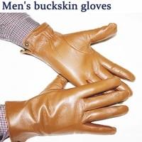 sheepskin gloves mens autumn and winter plus velvet warm buckskin pattern champagne leather gloves