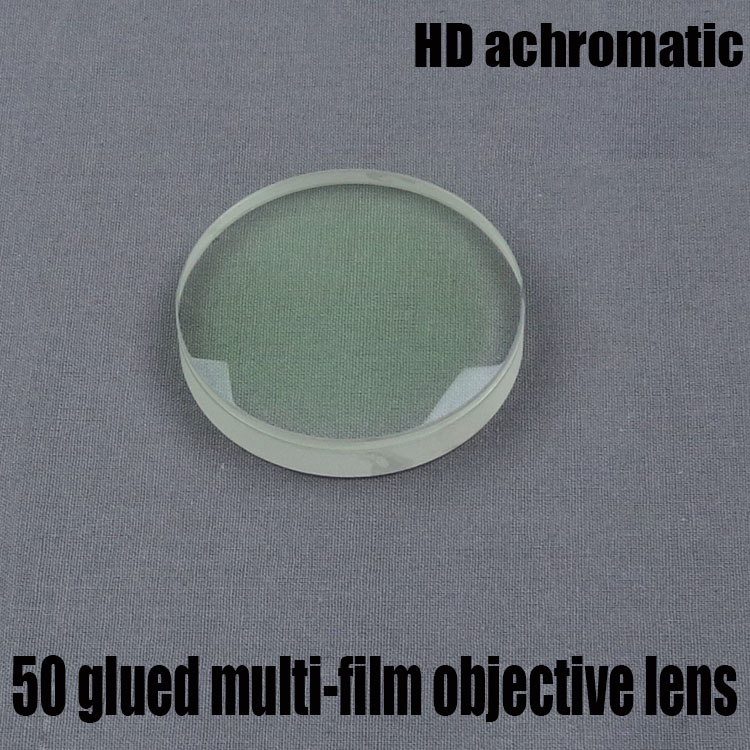 Telescopio astronómico DIY accesorios lente objetivo de refracción HD diámetro acromático 50 longitud Focal 182 película verde pegada