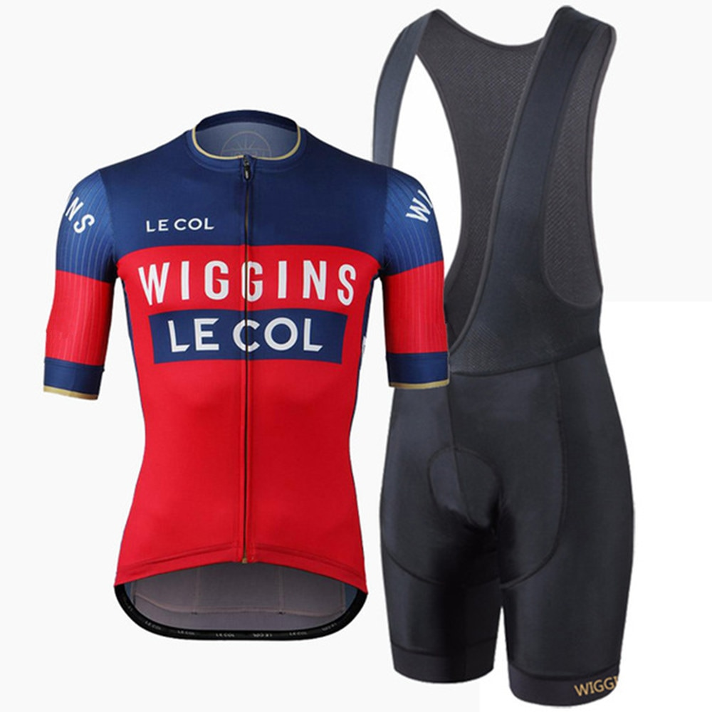 LE COL new cycling club team clothing wiggins pro team men's short sleeve jersey and gel pad bib shorts kits mtb roadbike suit