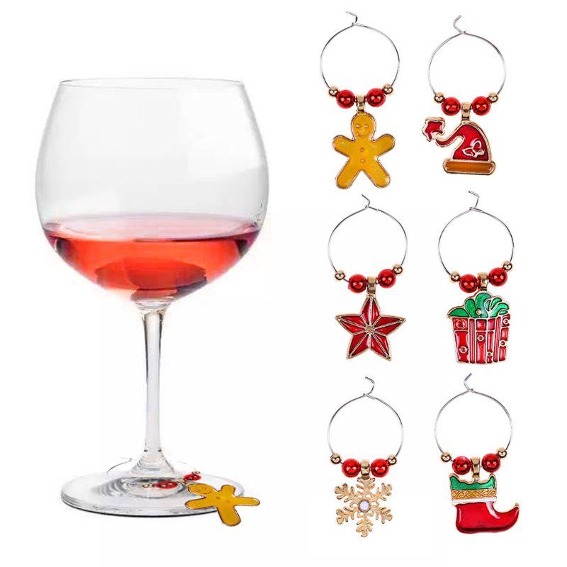 6 unids/set etiquetas de anillos de copa de vino de Navidad Decoración de mesa colgante de Navidad Sep-9