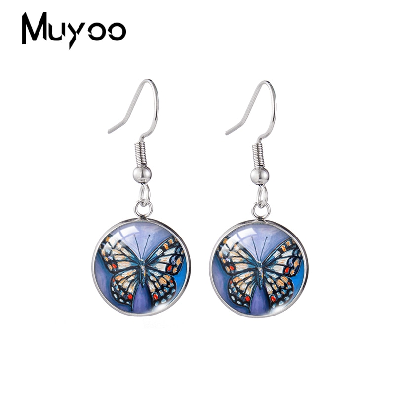 2020 New Colorful Butterfly Earring Art Paintings Fish Hook Earrings Handmade Glass Dome Photo Jewel