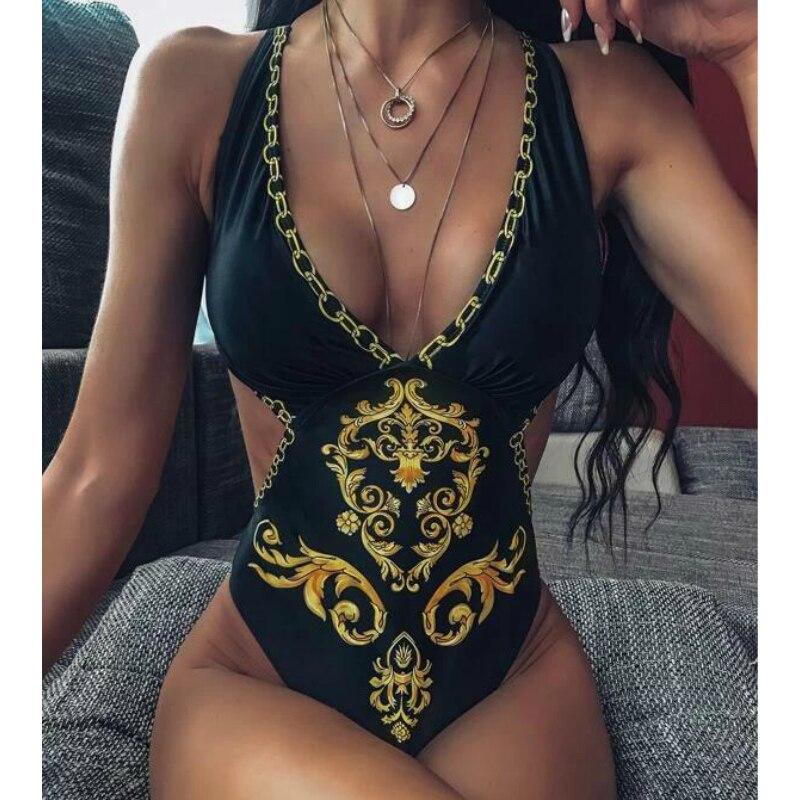 2019 One Piece Swimwear Women Sexy Swimsuit Cut Out Push Up Ladies BodySuit High Cut Female Bathing Suit V Neck Maillot De Bain