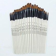 12 Nylon Hair Wooden Handle Watercolor Paint Brush Pen Artist Watercolor Painting Brushes Brush Oil
