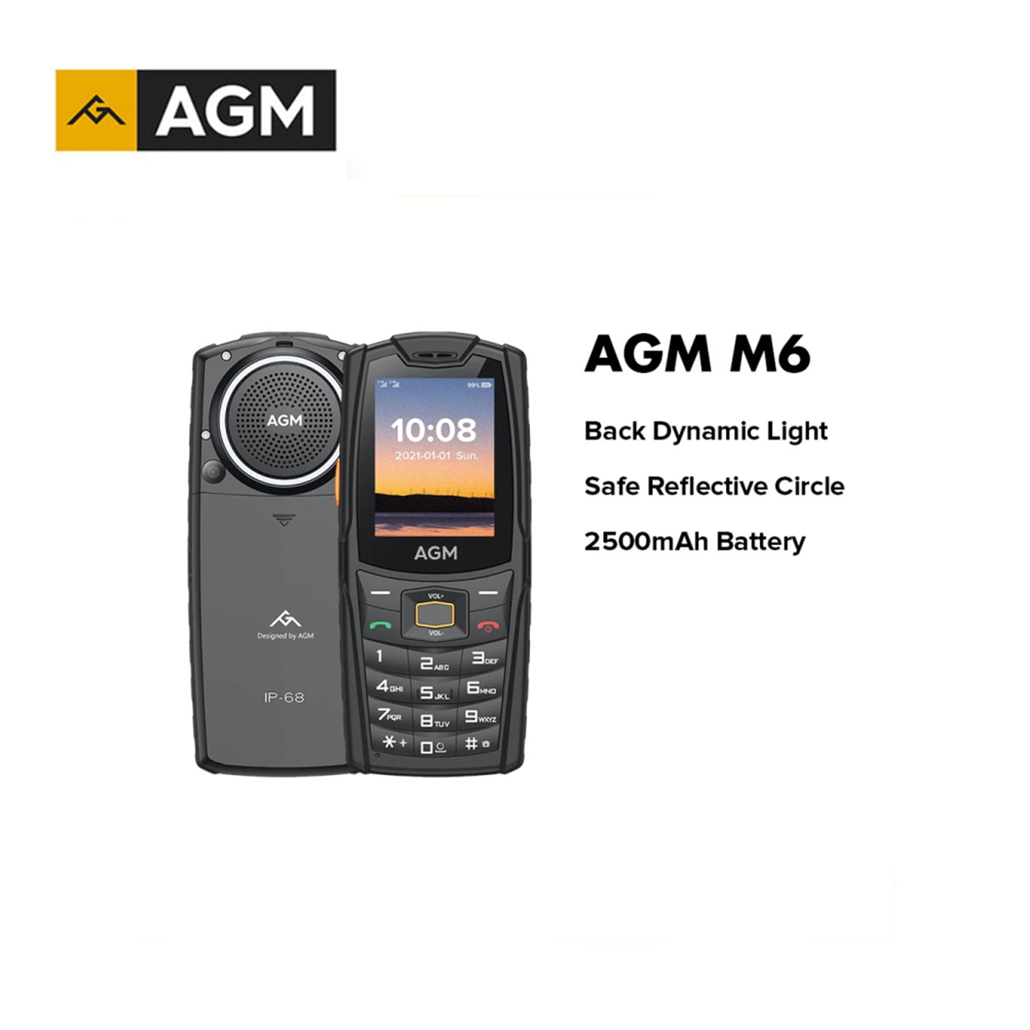 AGM M6 IP68 Waterproof Push-Button Cellphones 2.4 Inch 4G Mobile Phone 2500mAh Long Battery Life Rugged GSM Feature Phone