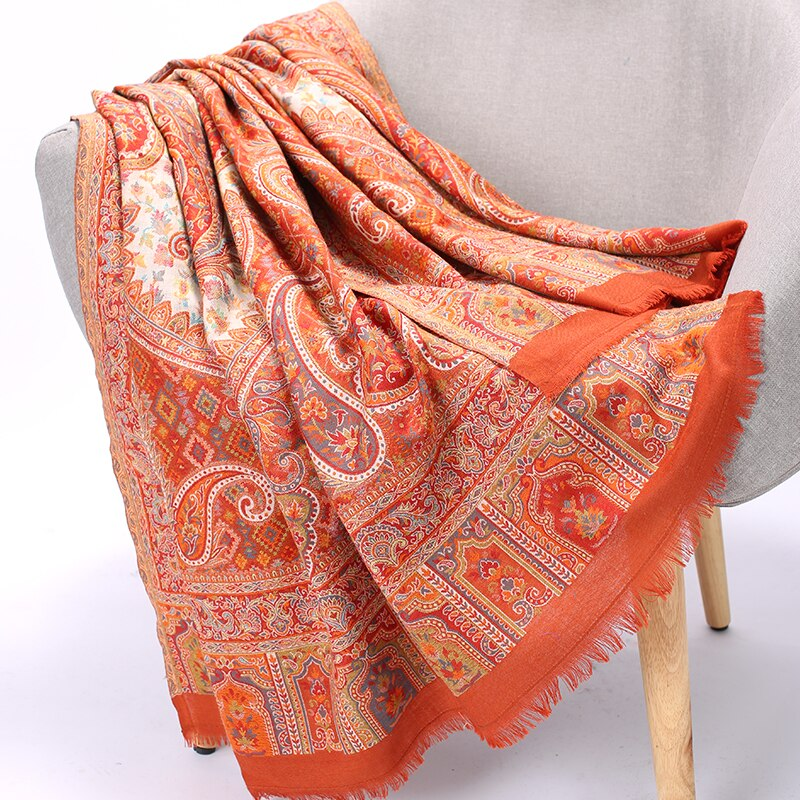 Large Size Hijabs Handmade Embroidery Female Shawls Orange Wrap Cachecol Feminino Mujer Bufanda Artificial Cashmere Muffler