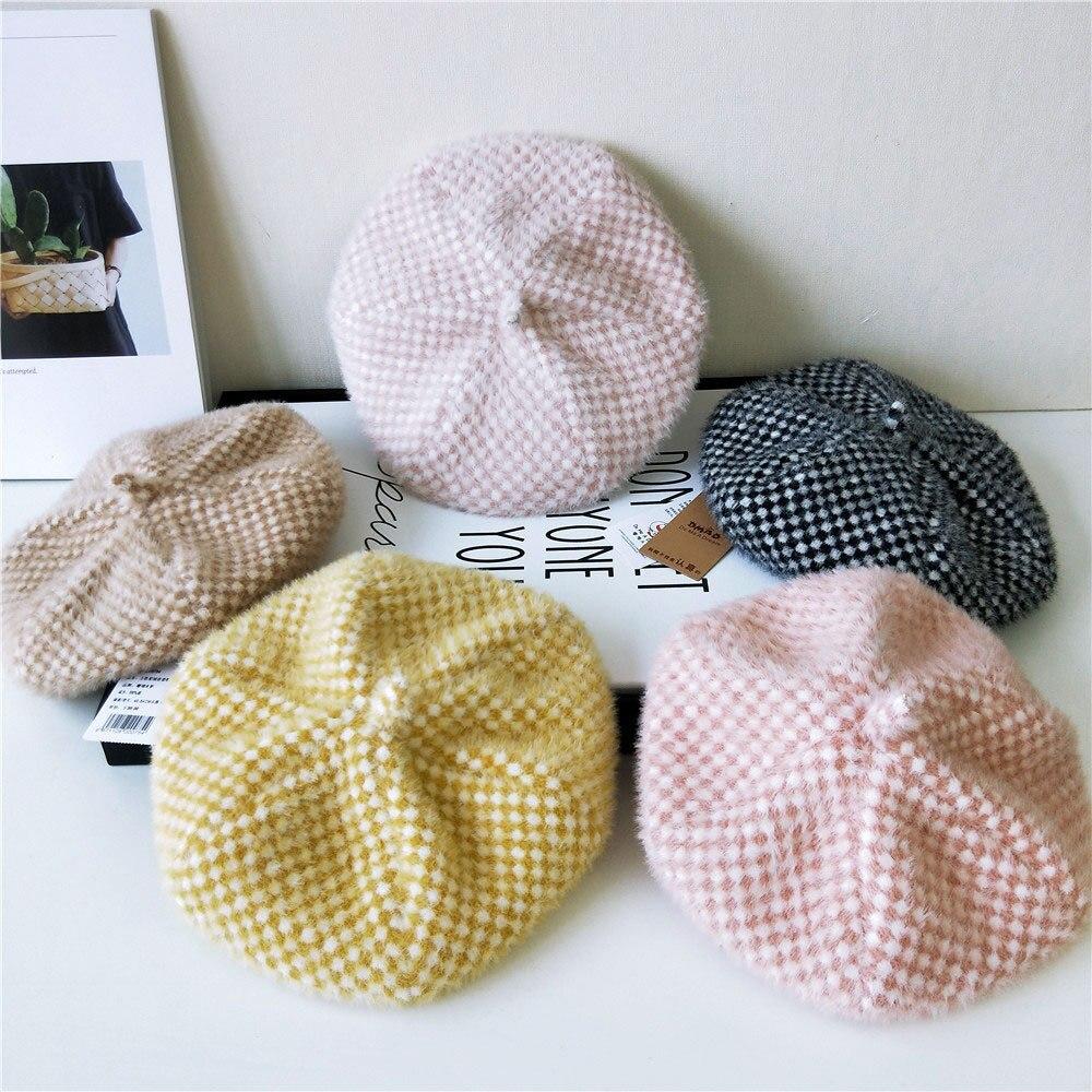 Sombrero para niños y bebés Otoño e Invierno nueva versión coreana ins de sombrero tejido para niños de 3 a 8 años de edad sombrero de guarda color caramelo
