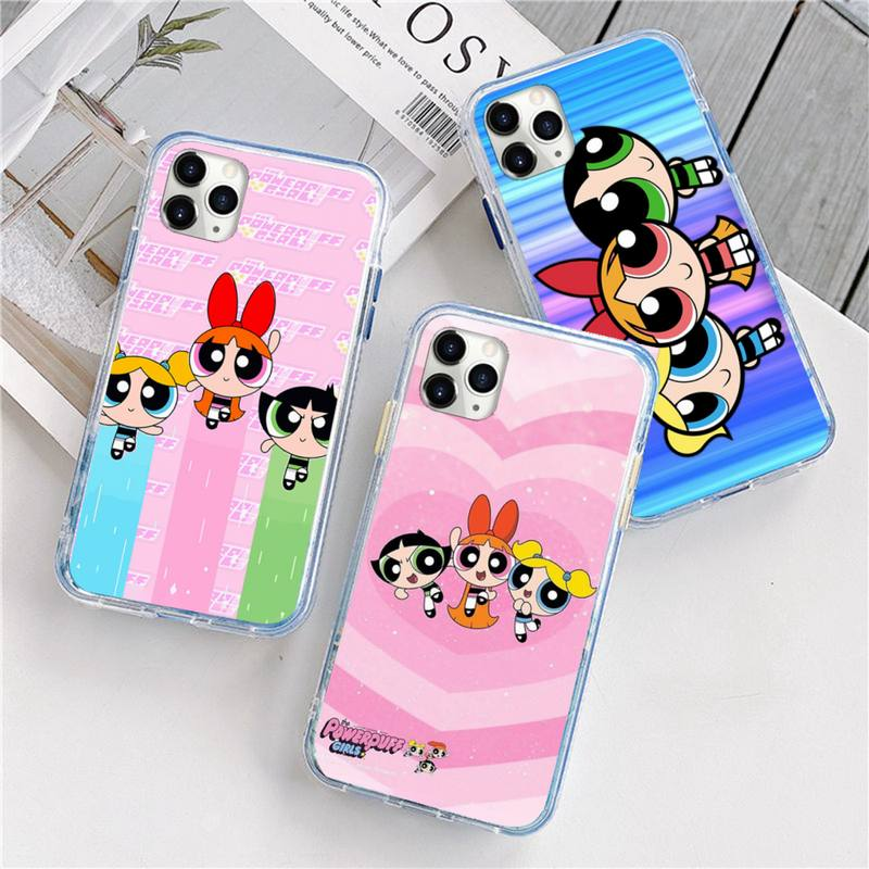 Adorável p-powerpuff meninas capa de telefone para iphone 12 5 5S 5c se 6s 7 8 plus x xs xr 11 pro max mini