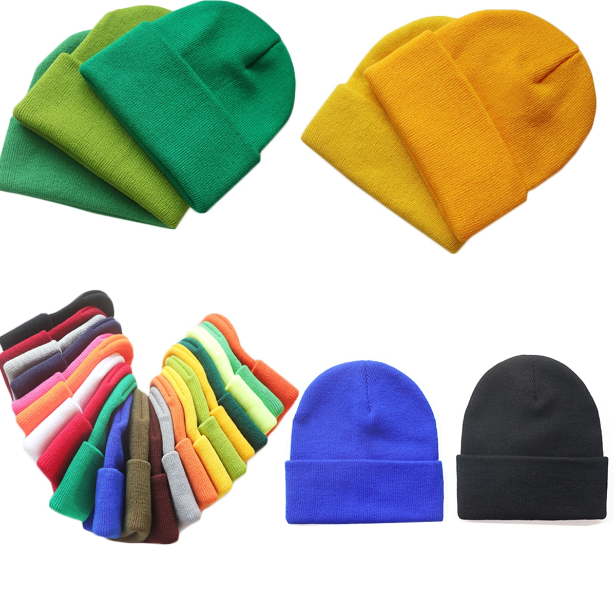 20colors solid color knitted hat woolen hat brimless cap curled cap cold hat customizable logo woman man beanies high-quality