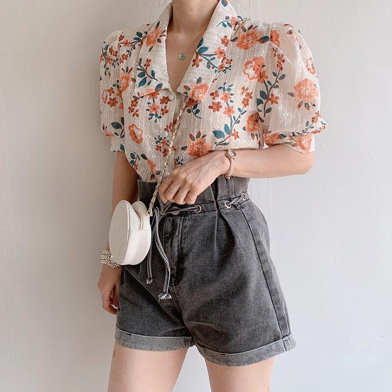 Korean style women blouses floral printed summer short-sleeve shirt tops 3003#