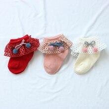 Newborn Baby Girl Cute Socks Bowknot Design Lace Cotton Short Socks Infant Children Casual Socks