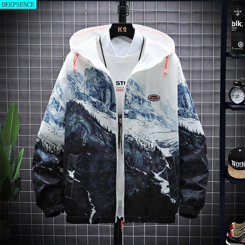 2021 Spring New Printed Hooded Jacket Men's Trend Student Sportswear Men's Big Jacket Youth Jacket J
