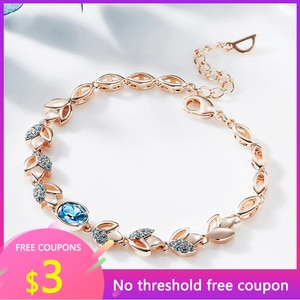 OGULEE Women Rose Gold Bracelet Jewellery Embellished Crystals Leaves Pink Blue Rhinestones Adjustable Bracelet Jewelry Gifts