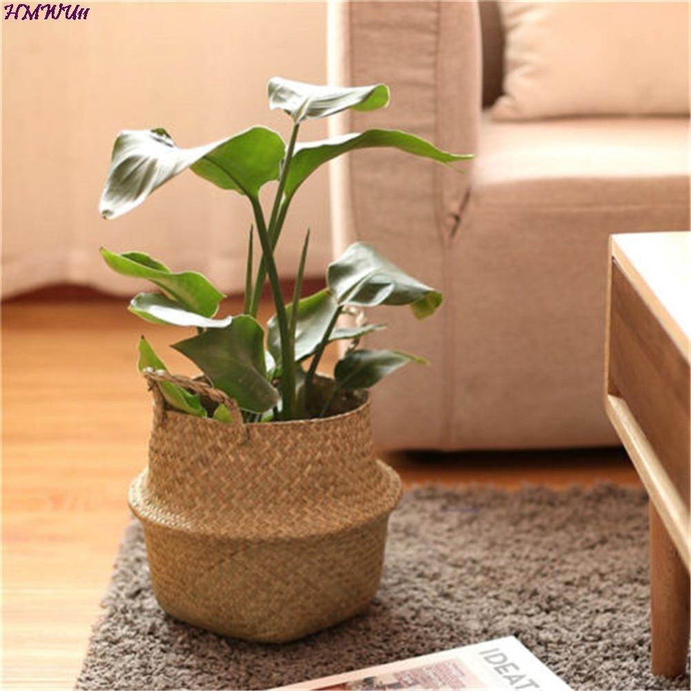 1pc Foldable Natural Seagrass Woven Storage Pot Garden Flower Vase Hanging Wicker Basket Handmade Straw Household