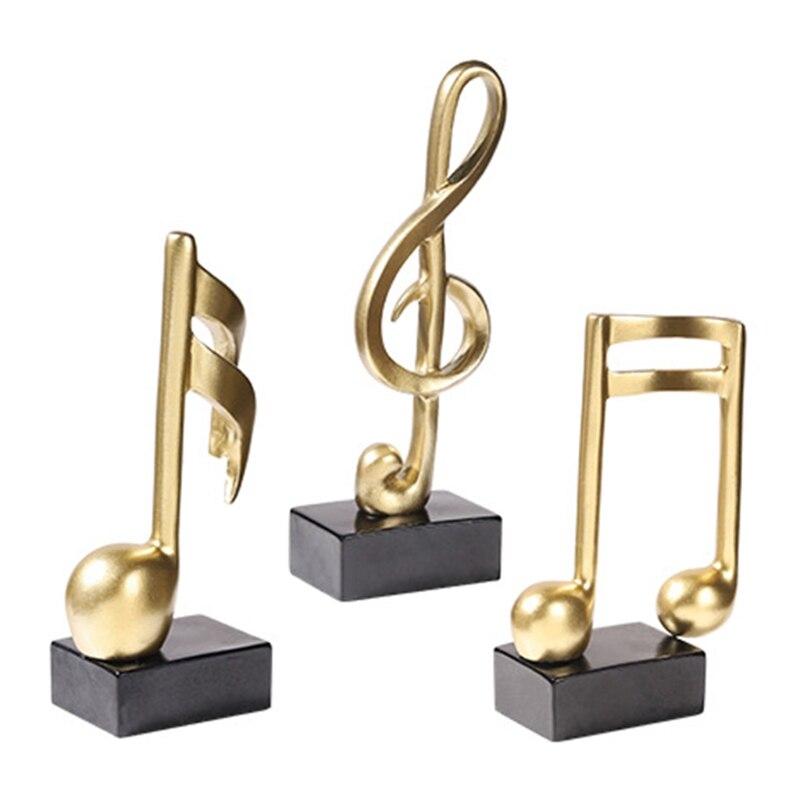 Música decoración (3 unids/set) de resina de oro Musical escultura estatua música...
