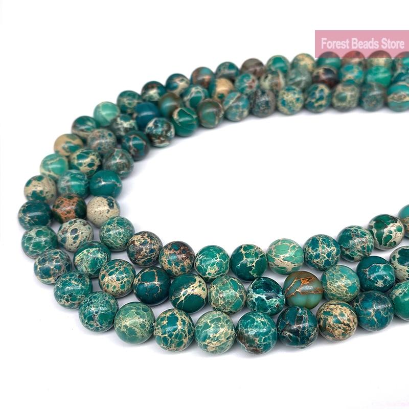 """Sedimento de mar verde Natural turquesa jaspe Imperial perlas redondas de piedra preciosa Diy pulsera para la fabricación de joyas 15 """"hebra 6 8 10MM"""